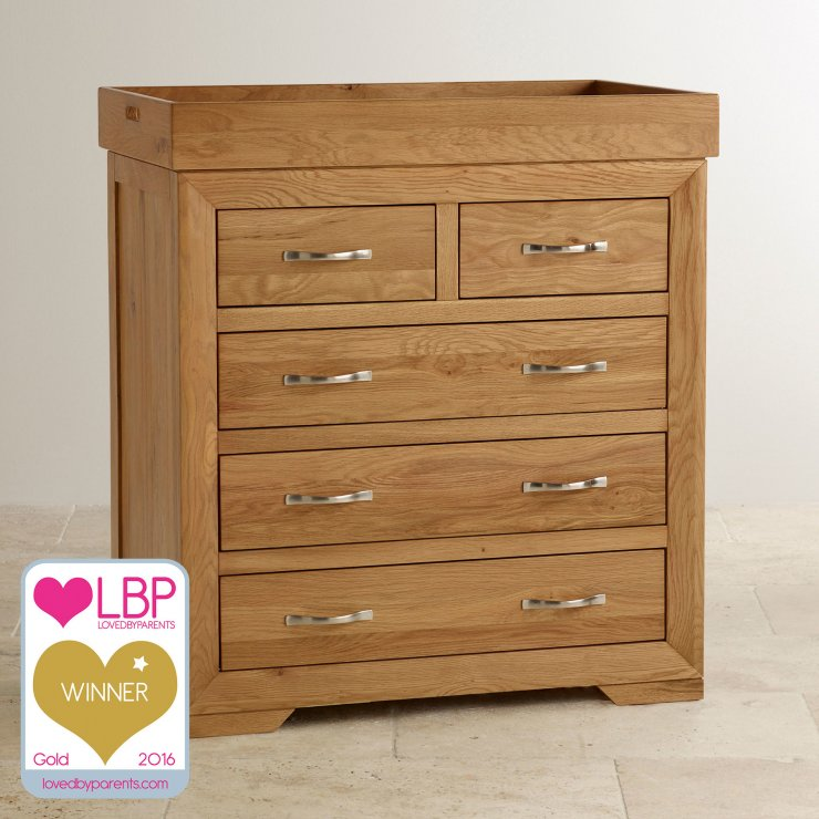 Bevel Natural Oak Baby Changer Dresser