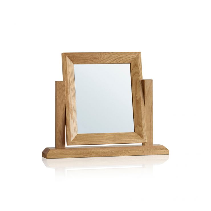 Bevel Natural Solid Oak Dressing Table Mirror - Image 5