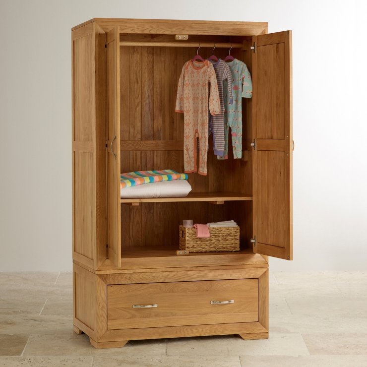 Bevel Natural Solid Oak Nursery Wardrobe