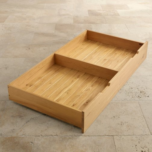 Bevel Natural Solid Oak Under Cot Storage Drawer