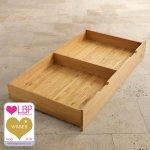 Bevel Natural Solid Oak Under Cot Storage Drawer - Thumbnail 1