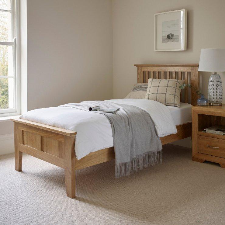Express Delivery Bevel Solid Oak 3ft Single Bed