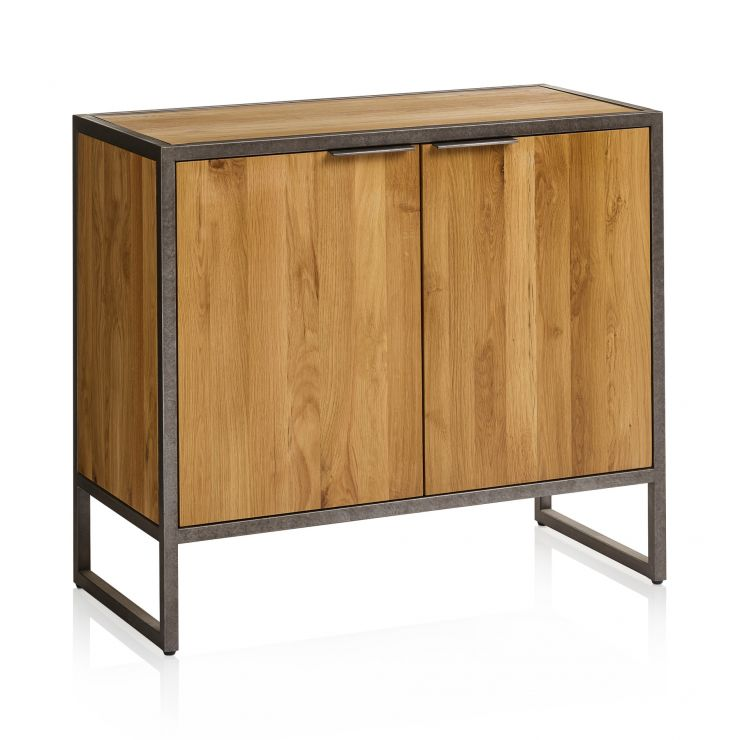 Brooklyn Natural Solid Oak and Metal Small Sideboard - Image 7