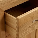 Bevel Natural Solid Oak 5 Drawer Tallboy - Thumbnail 4