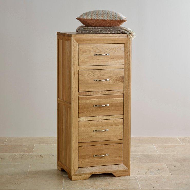 Bevel Natural Solid Oak 5 Drawer Tallboy