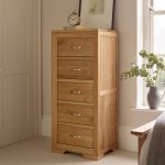 Bevel Natural Solid Oak 5 Drawer Tallboy - Thumbnail 2