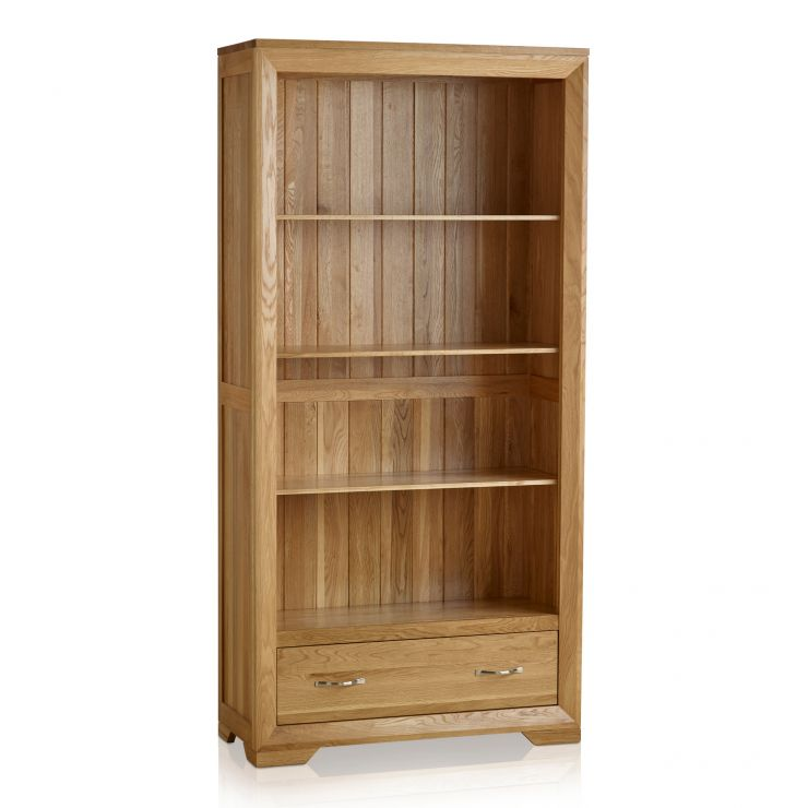 Bevel Natural Solid Oak Tall Bookcase - Image 7