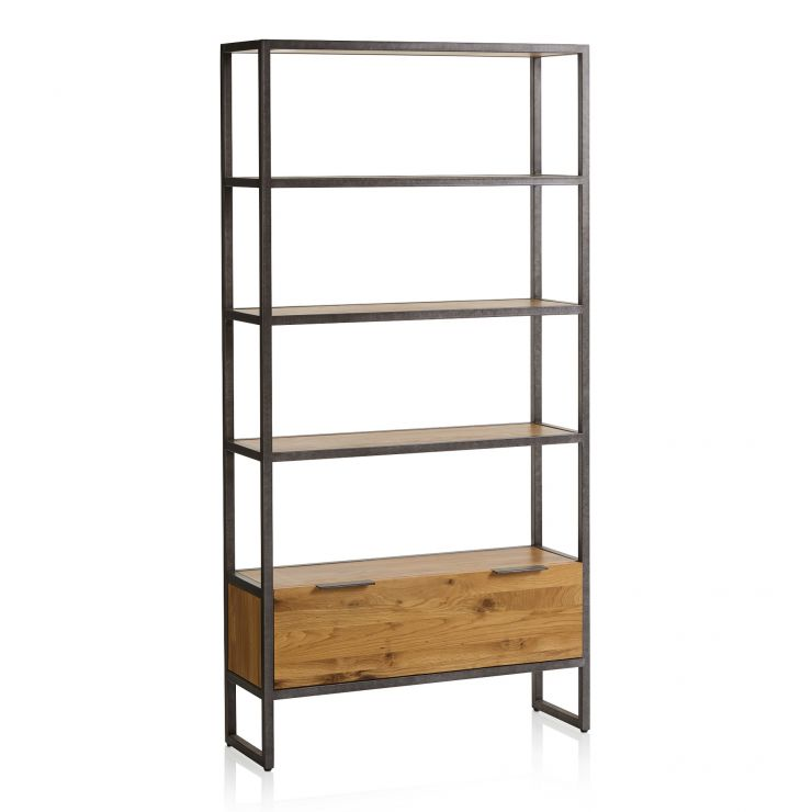Brooklyn Natural Solid Oak and Metal Large Bookcase - Image 7