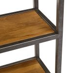Brooklyn Natural Solid Oak and Metal Large Bookcase - Thumbnail 6