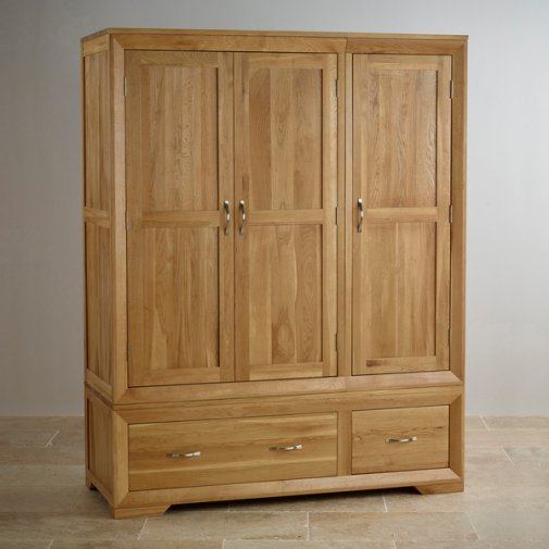 Bevel Natural Solid Oak Triple Wardrobe