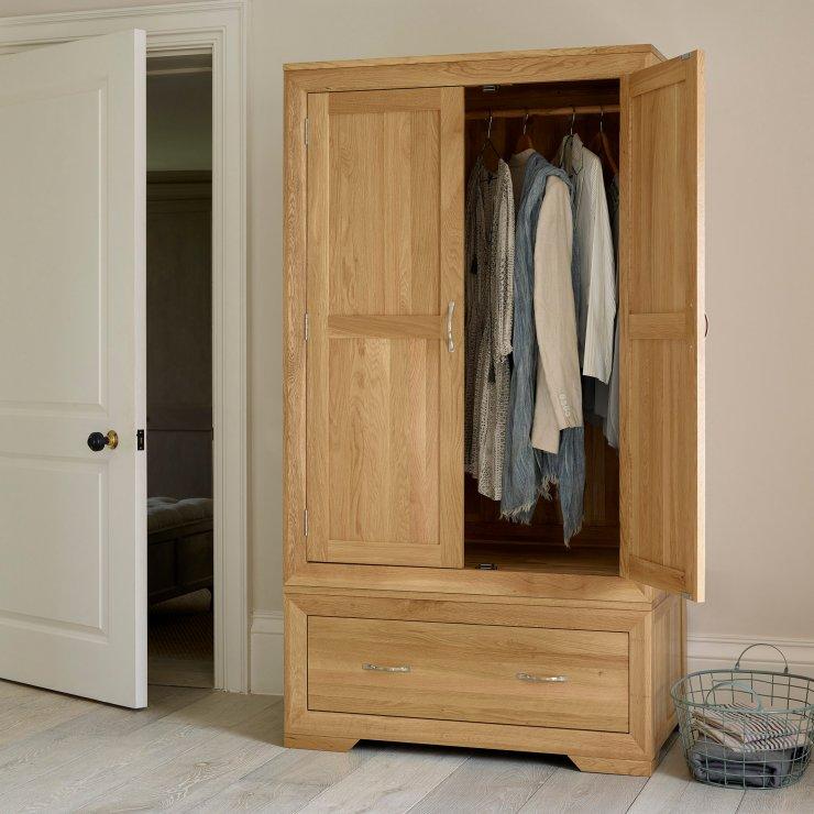 Bevel Natural Solid Oak Double Wardrobe