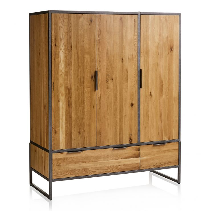 Brooklyn Natural Solid Oak and Metal Triple Wardrobe