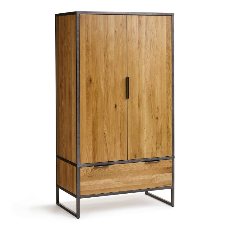 Brooklyn Natural Solid Oak and Metal Double Wardrobe