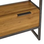 Brooklyn Natural Solid Oak and Metal Small Bookcase - Thumbnail 6