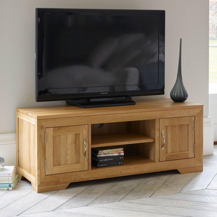 Ashley Furniture Delmar De: Bevel Natural Solid Oak Widescreen TV + DVD Cabinet