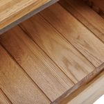 Boston Natural Solid Oak and Metal Console Table - Thumbnail 4