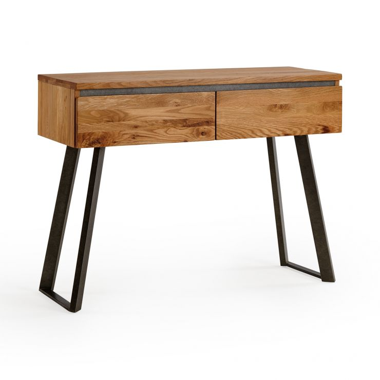 Boston Natural Solid Oak and Metal Console Table