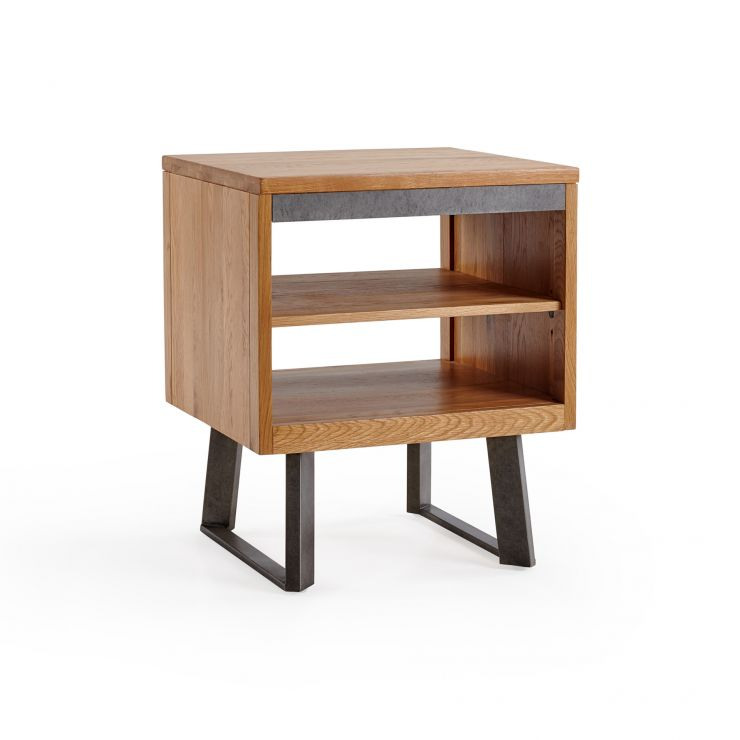 Boston Natural Solid Oak and Metal Side Table