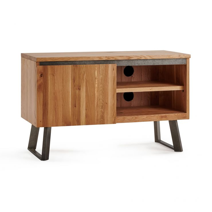 Boston Natural Solid Oak and Metal Small TV Unit