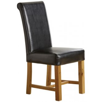 Braced Scroll Back Chair - Black Leather with Solid Oak Legs