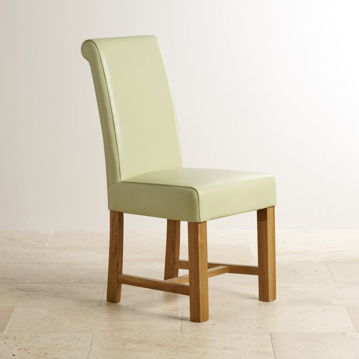 Braced Scroll Back Chair - Cream Leather with Solid Oak Legs  - Image 2