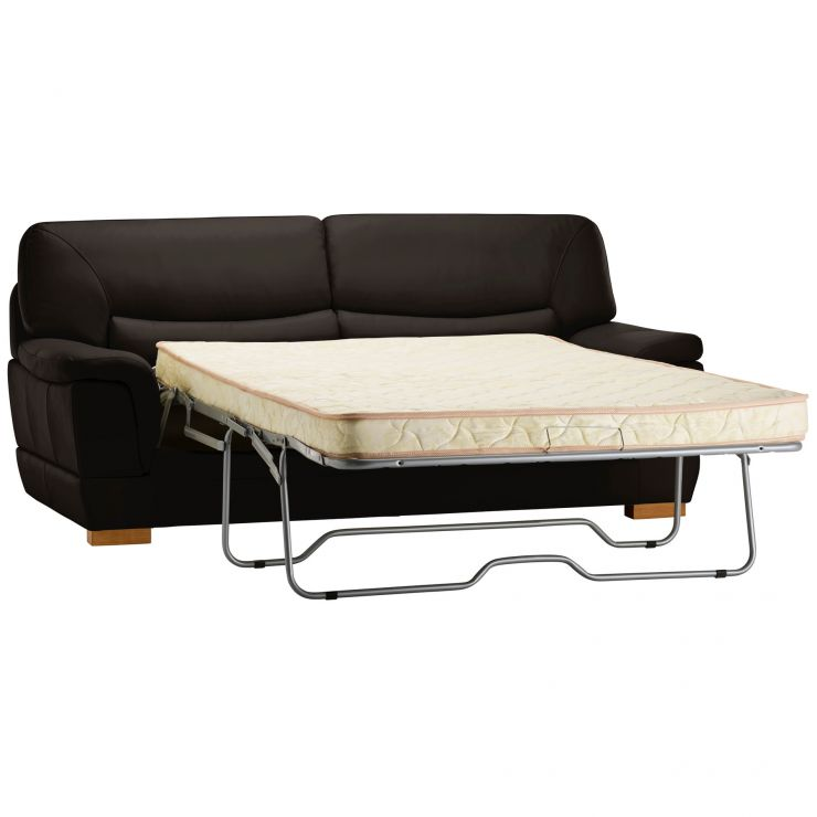Brandon 3 Seater Sofa Bed with Deluxe Mattress - Brown Leather