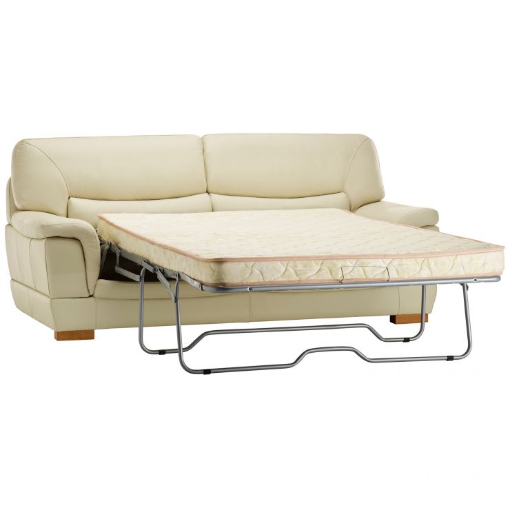 Brandon 3 Seater Sofa Bed with Deluxe Mattress - Cream Leather - Image 14