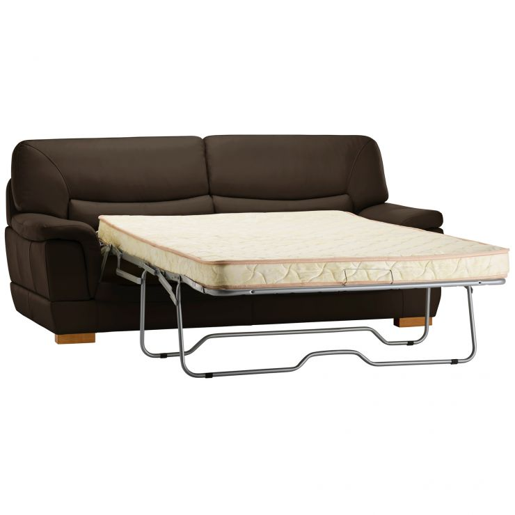 Brandon 3 Seater Sofa Bed with Deluxe Mattress - Light Brown Leather