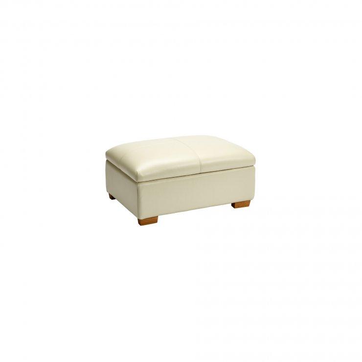 Brandon Storage Footstool - Cream Leather - Image 2
