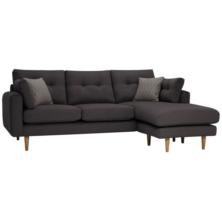 Brighton Charcoal Corner Sofa Left Hand with Charcoal Scatters