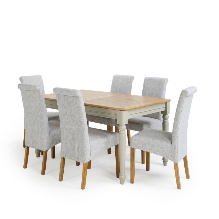 "Brindle Natural Oak and Painted 4ft 9"" Extending Dining Table with 6 Chairs"
