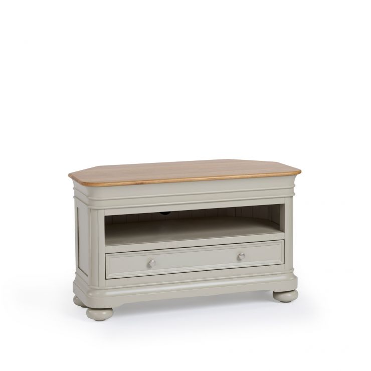 Brindle Natural Oak and Painted Corner TV Unit