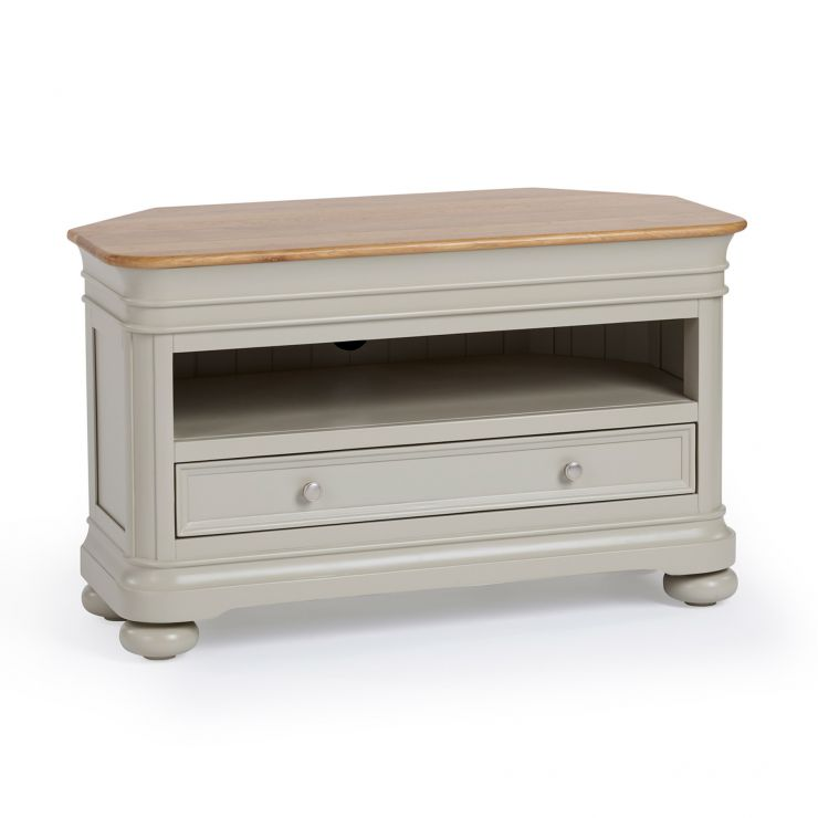 Brindle Natural Oak and Painted Corner TV Unit - Image 1
