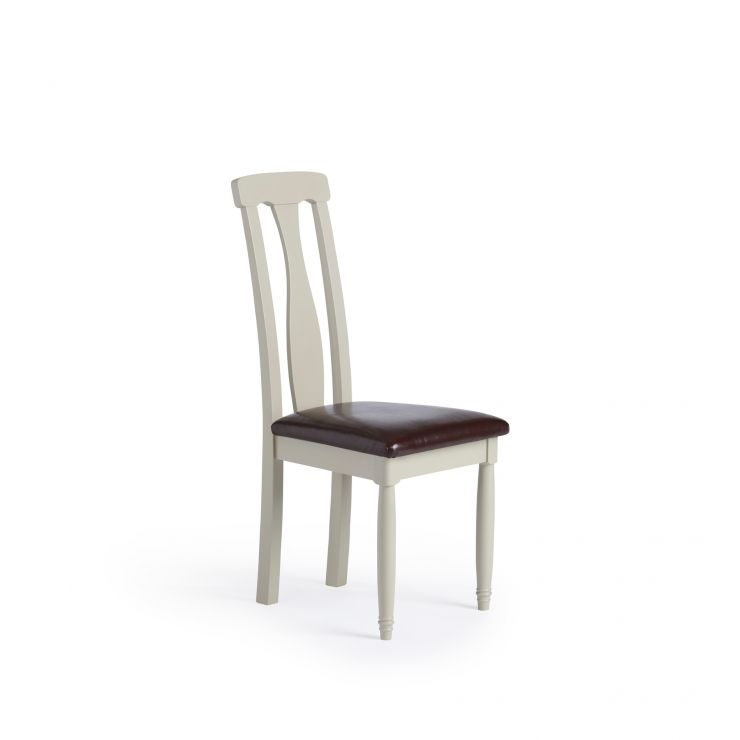 Brindle Natural Solid Oak and Painted Brown Leather Dining Chair