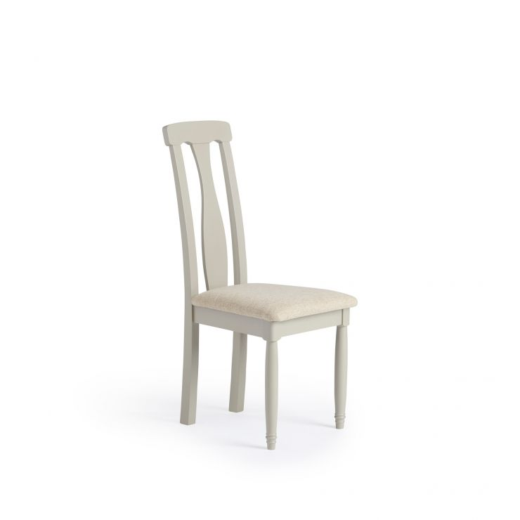 Brindle Natural Solid Oak and Painted Plain Beige Fabric Dining Chair - Image 1
