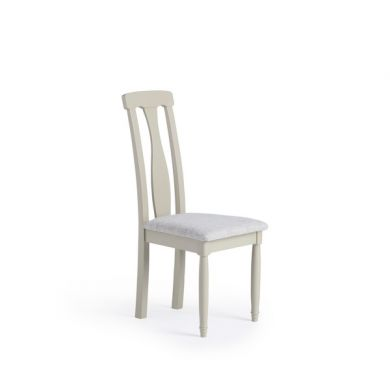Brindle Natural Solid Oak and Painted Plain Grey Fabric Dining Chair