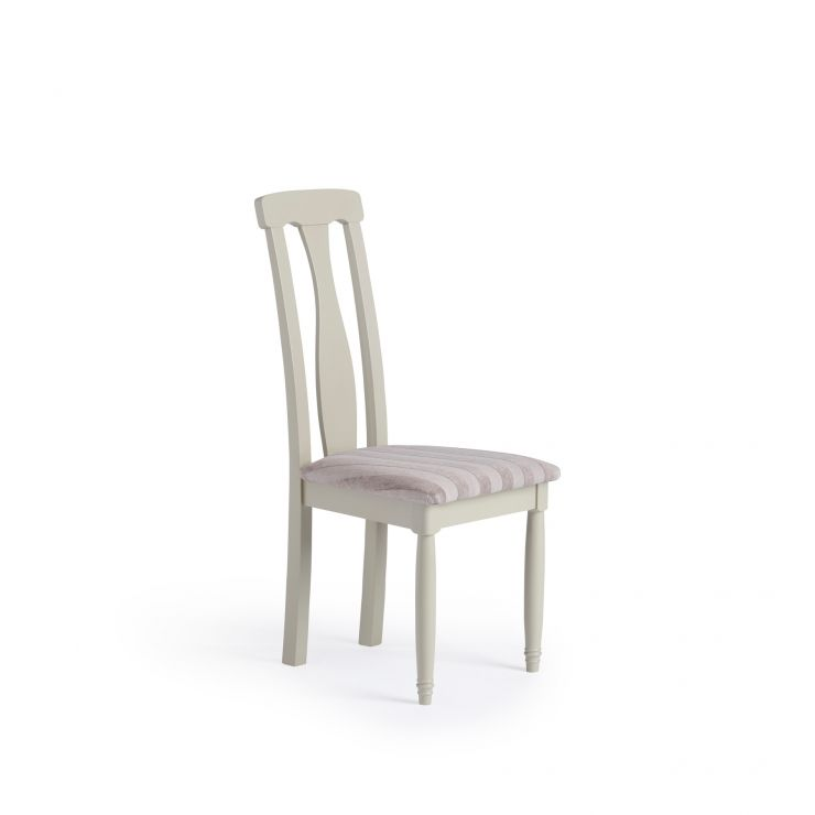 Brindle Natural Solid Oak and Painted Striped Silver Fabric Dining Chair