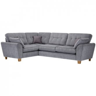 Brooke Corner Sofa Right Hand Facing Grey with Grey Scatters