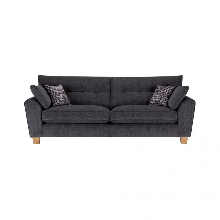 Brooke 4 Seater Sofa in Charcoal with Grey Scatters - Image 1