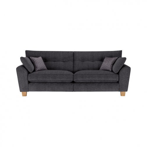 Brooke 4 Seater Sofa in Charcoal with Grey Scatters