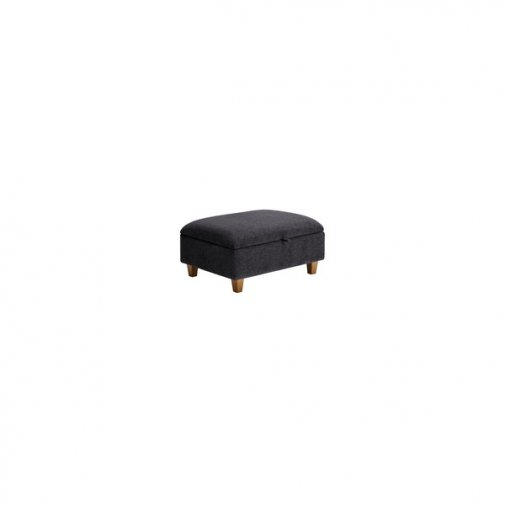 Brooke Plain Storage Footstool in Charcoal