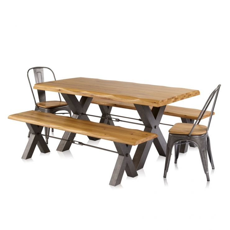 Brooklyn Living Edge Dining Table with 2 Benches and 2 Chairs