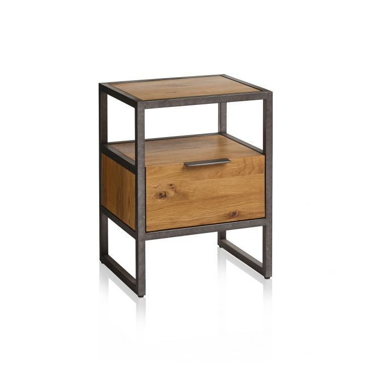 Brooklyn Natural Solid Oak and Metal 1 Drawer Bedside Table