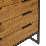 Brooklyn Natural Solid Oak and Metal 2+3 Chest of Drawers - Thumbnail 6