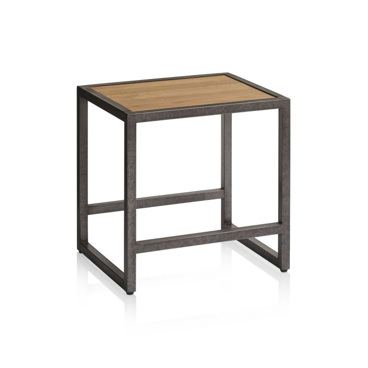 Brooklyn Natural Solid Oak and Metal Dressing Table Stool - Image 4