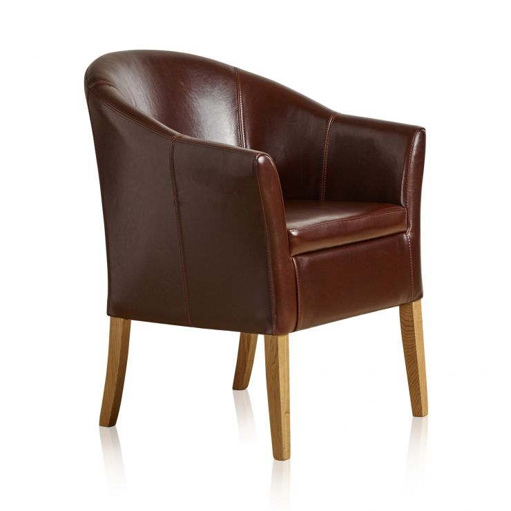 Brown Leather Tub Chair with Solid Oak Legs - Image 4