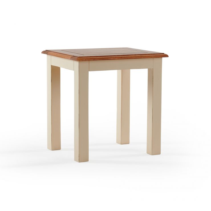 Burford Rustic Solid Oak and Distressed Paint Finish Dressing Stool
