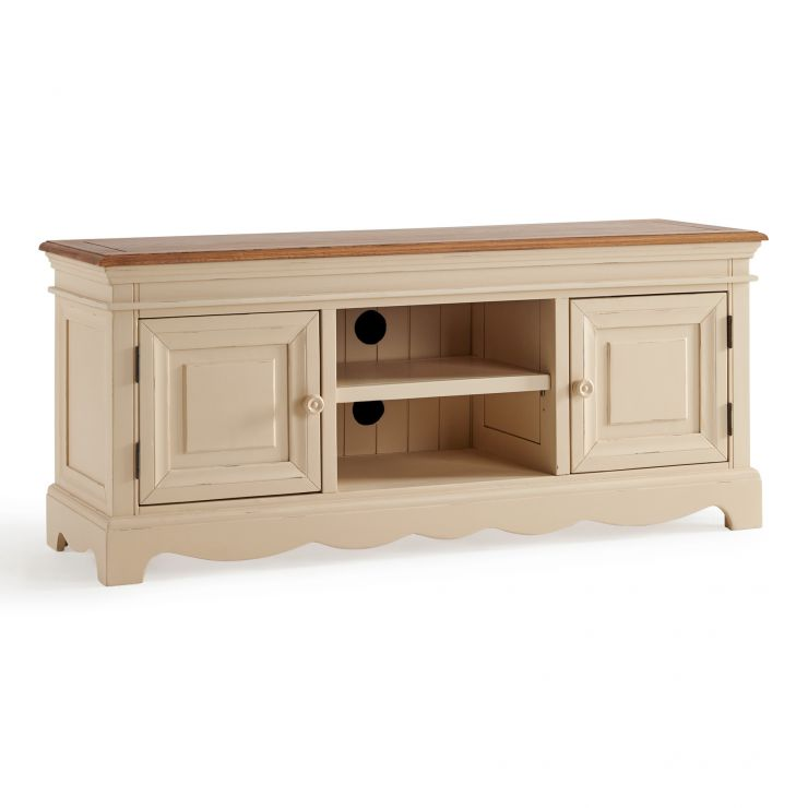 Burford Rustic Solid Oak and Distressed Paint Finish Large TV Unit