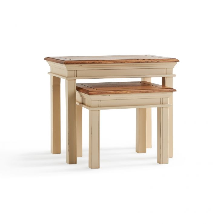 Burford Rustic Solid Oak and Distressed Paint Finish Nest of 2 Tables