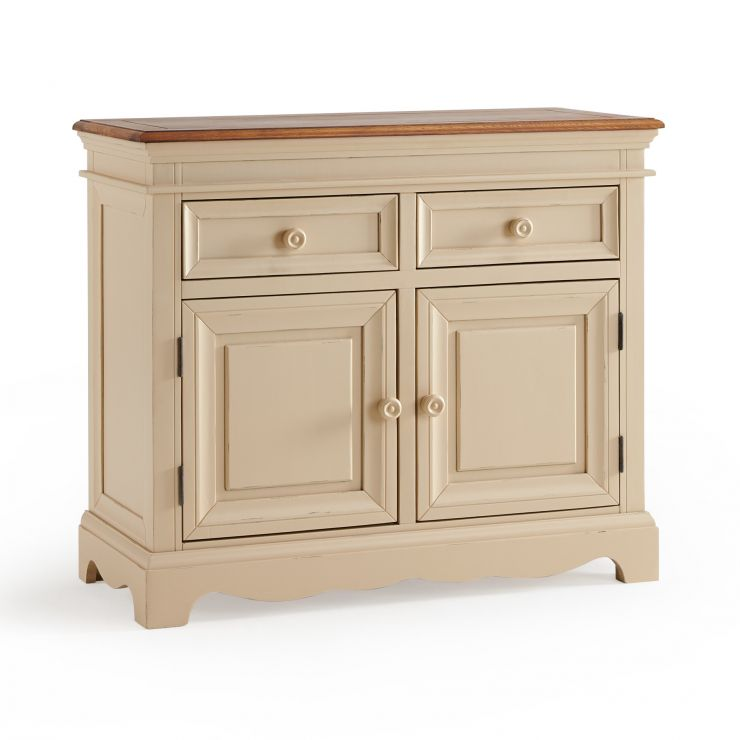 Burford Rustic Solid Oak and Distressed Paint Finish Small Sideboard